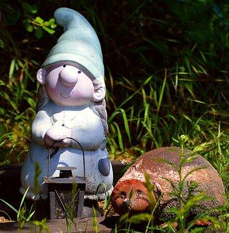 Garden Gnome, Dwarf Woman, Hedgehog, Lantern, Garden