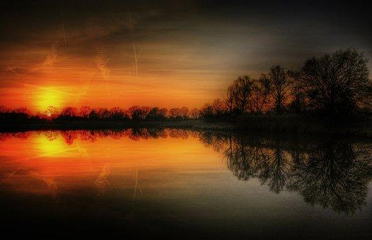 Sun, Pond, Water, Nature, Landscape, Lake, Sky