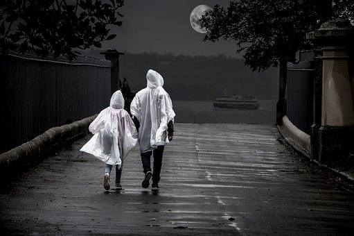 Couple, Relationship, Rain, Moon, Romantic, Love