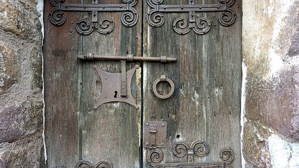 Door, Old, Wood, Historical, Aldaba, Lock, Medieval