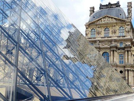 Paris, The Louvre, Pyramid, Reflections, Pavilion