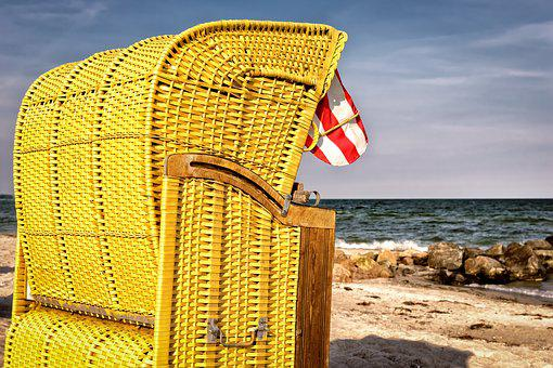 Beach Chair, Sun, Holiday, Beach, Sea, Sand, Baltic Sea