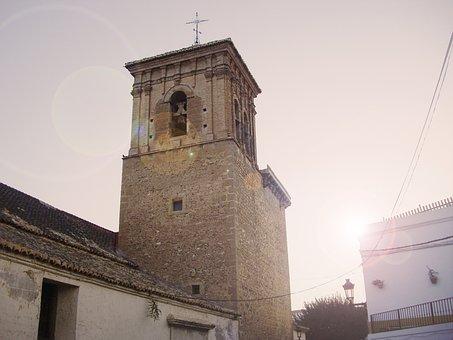 Sun, Sunset, Bell Tower, Landscape, Setting Sun, Sky