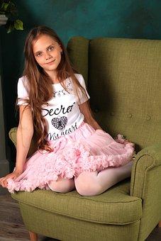 Girl, Model, Armchair, Posture, Skirt, Beautiful, Hair