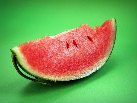 Watermelon, Slice, Isolated, Seeded, Delicious