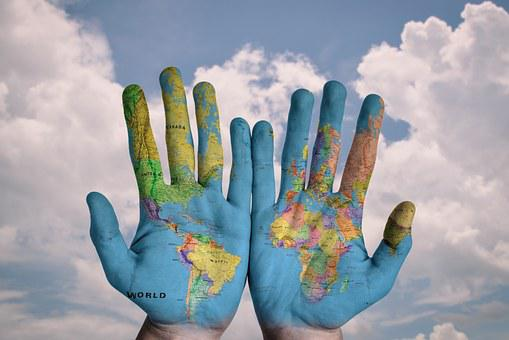 Hands, World, Map, Global, Earth, Globe, Blue, Creative