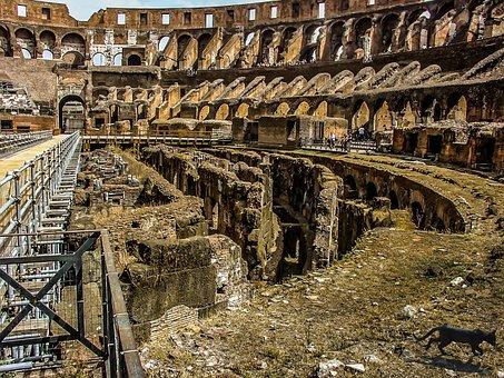 Rome, Colosseum, Ancient, Landmark, Interior, Floor
