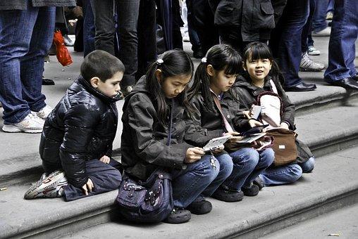 Girls, Sisters, Reading, Playing, Watching, Asian, Boy