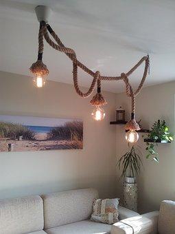 Rope, Lamp, Chandelier, Design, Retro, Vintage, Old