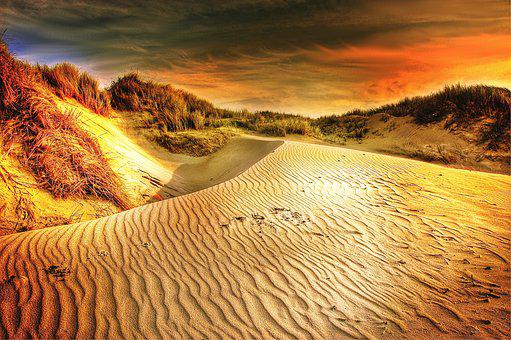 Sun, Dunes, Sand, Desert, Sea, Hot, Dry, Beach, Sunset