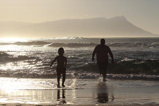 Father, Son, Sea, Parent, People, Boy, Family, Child