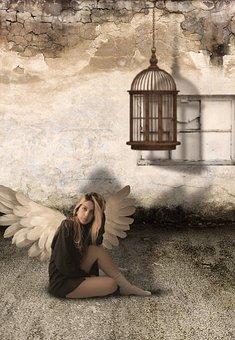Dirty, Angel, Bird, Cage, Grunge, Design, Old, Vintage