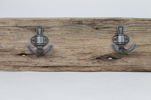 Hooks, Wooden, Driftwood, Wood, Design, Vintage