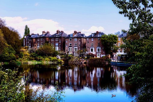 London, England, Great Britain, Houses, Homes, Lake