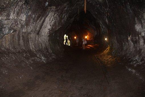 Lava, Tube, Volcanic, National, Park, Island, Thurston