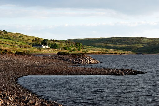 Lake, Loch, Water, Cottage, Hillside, Landscape, Beach