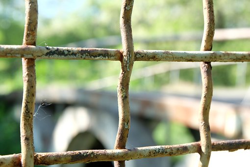Grille, Cage, Net, Bridge, Old, Prison, Rusty