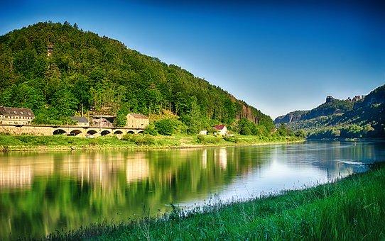 River, Elbe, Water, Nature, Landscape