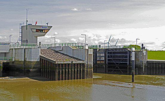 Husum, Sea Lock, Dike, Deichtor, Control Tower