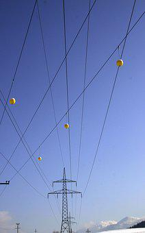 Sky, Current, Power Line, Electricity, Cable, Blue