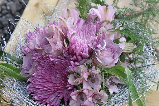 Bouquet, Purple Bouquet, Flowers, Closeup, Cut Flowers