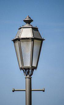 Street Lamp, Sky, Blue, Close, Lamp, Metal, Light