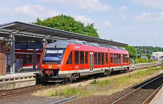 Train Station Husum, Platform, Railcar, Diesel Railcar