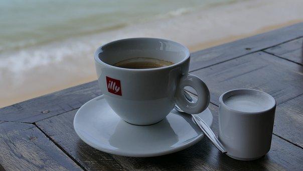 Coffee, Table, Sea, Cup, Break, Coffee Break, Breakfast