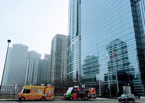 Food Truck, Chicago, Skyscraper, Morning, Usa, City