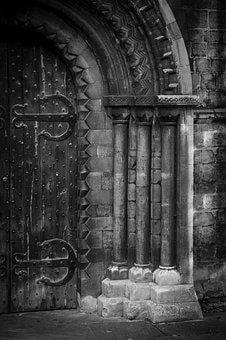 Door, Ancient, Black And White, Wood, Wooden