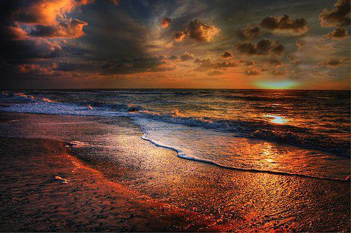 Sun, Denmark, Summer, Sunset, Sea, Nature, Landscape