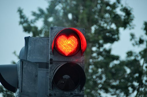 Stoplight, Heart, Road, Love