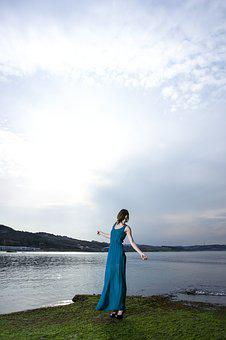 Model, Clothes, Blue, Dress, Beautiful, Photography