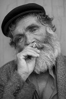 Old, Grandfather, Street, Cigarette, Drink, Smoke, Man