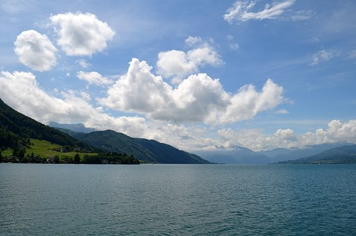 Attersee, Salzkammergut, Lake, Alpine, Clouds, Panorama