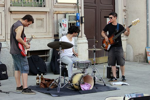 Musicians, Street Performers, Guitars, Battery, Milan