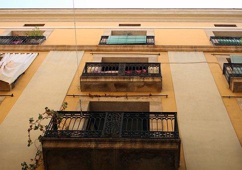 Balcony, Cast Iron, Facade, Yellow, Decorated, Building
