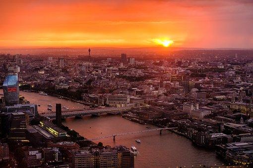 London, Skyline, Sunset, River, Buildings, Shard
