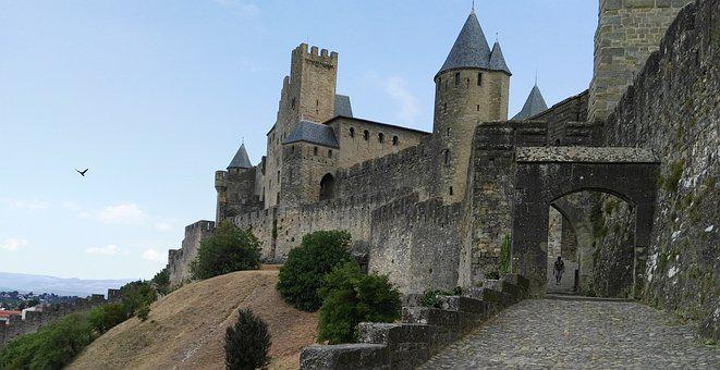 Carcassonne, France, Medieval City, Ramparts, Pierre
