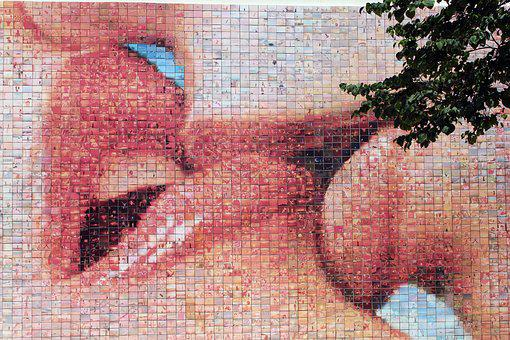 Street Art, Mosaic, Kiss, Lips, Love, Lovers, Pair