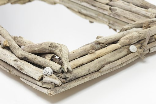 Driftwood, Wooden, Mirror, Rustic, Decor, Nature, White