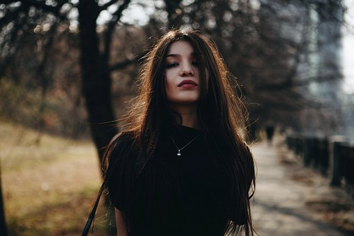 Portrait, Girl, In The Black, Long Hair, Person, Lips