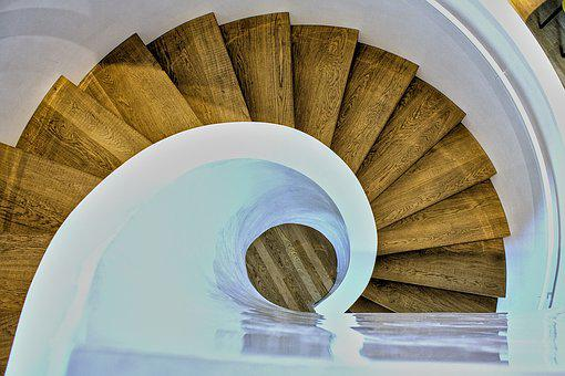 Round, Wood, Stairs, White, Brown, Luxury, Structure