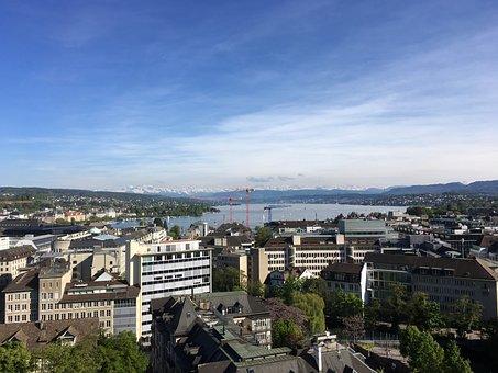 Zurich, Lake, Panoramic, City, Summer, Alps, Zurichsee