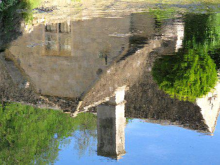 Architecture, Old House, Reflection, Water, England
