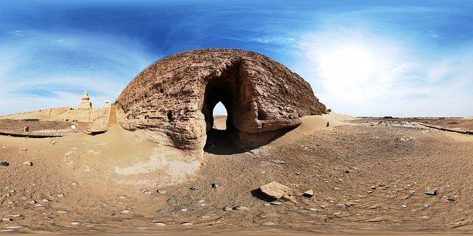 Inner Mongolia, Black City, Desert, Ruins