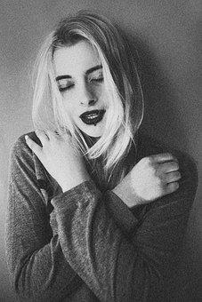Bw, Photo, Retro, Girl, Portrait, Posture, Couple