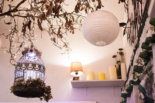 Cage, Lamp, Tree, Decoration, Interior, House