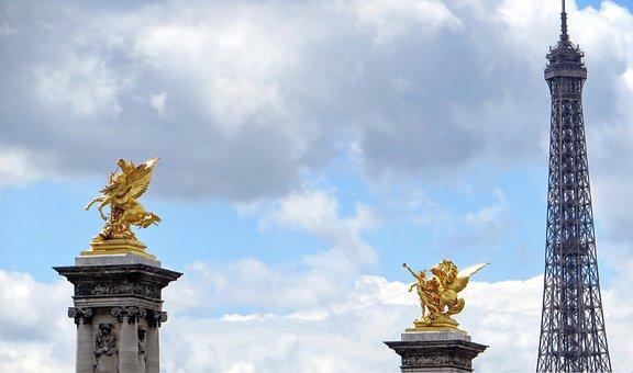 Paris, Eiffel Tower, Pegasus, Pont Alexandre-3