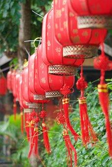 Lanterns, Sanya, Decoration, Red, Chinese, China